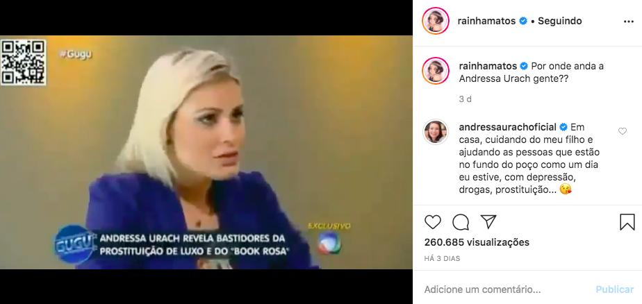 A apresentadora da Record e ex-participante de A Fazenda, Andressa Urach respondeu comentário de famosa (Foto: Reprodução/Instagram)