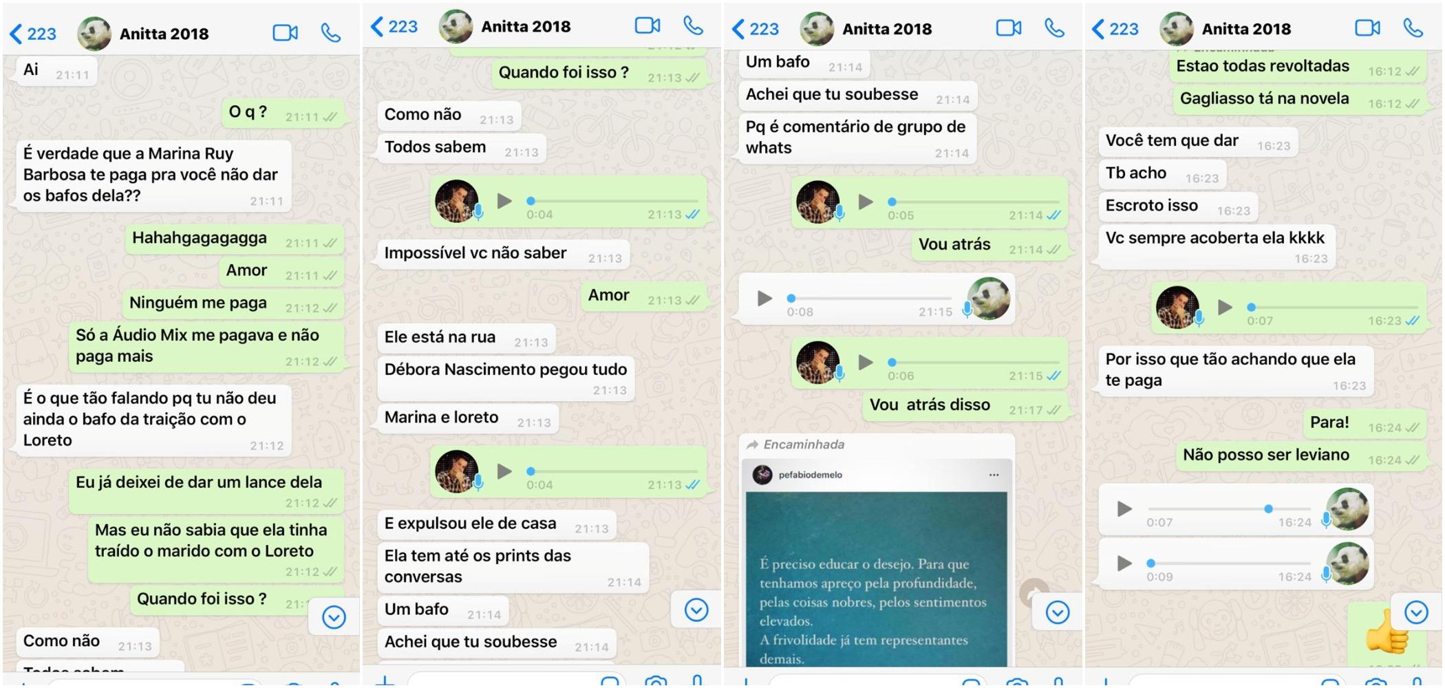 Prints das conversas entre Leo Dias e Anitta sobre Marina Ruy Barbosa - preta gil ivete sangalo