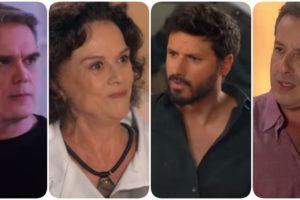 Fotomontagem de diversas expressões tensas dos personagens Pendleton, Gloria, Marcelo e Roger de As Aventuras de Poliana