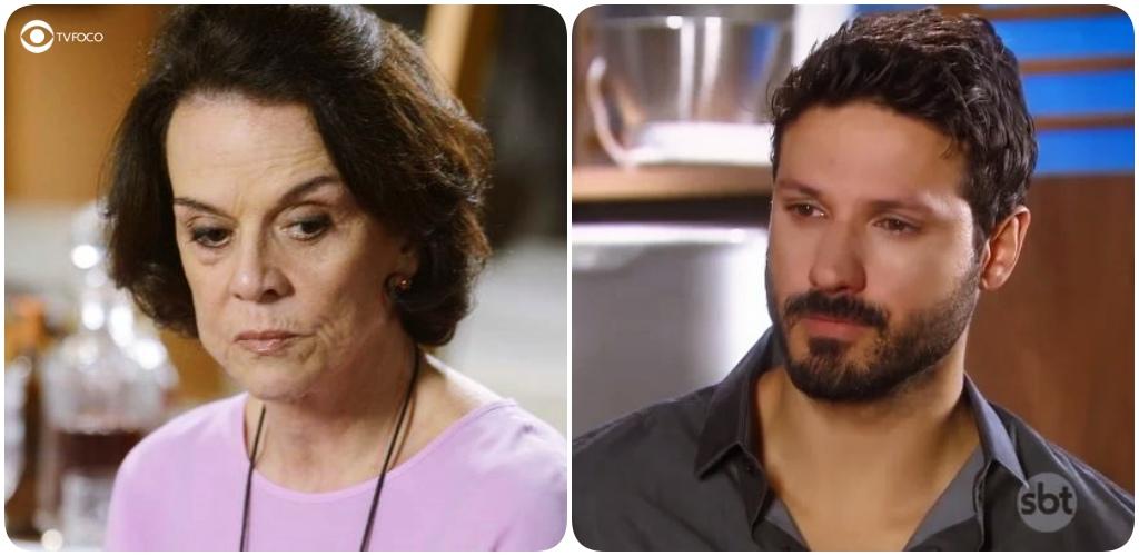Fotomontagem entre Gloria e Marcelo na novela As Aventuras de Poliana