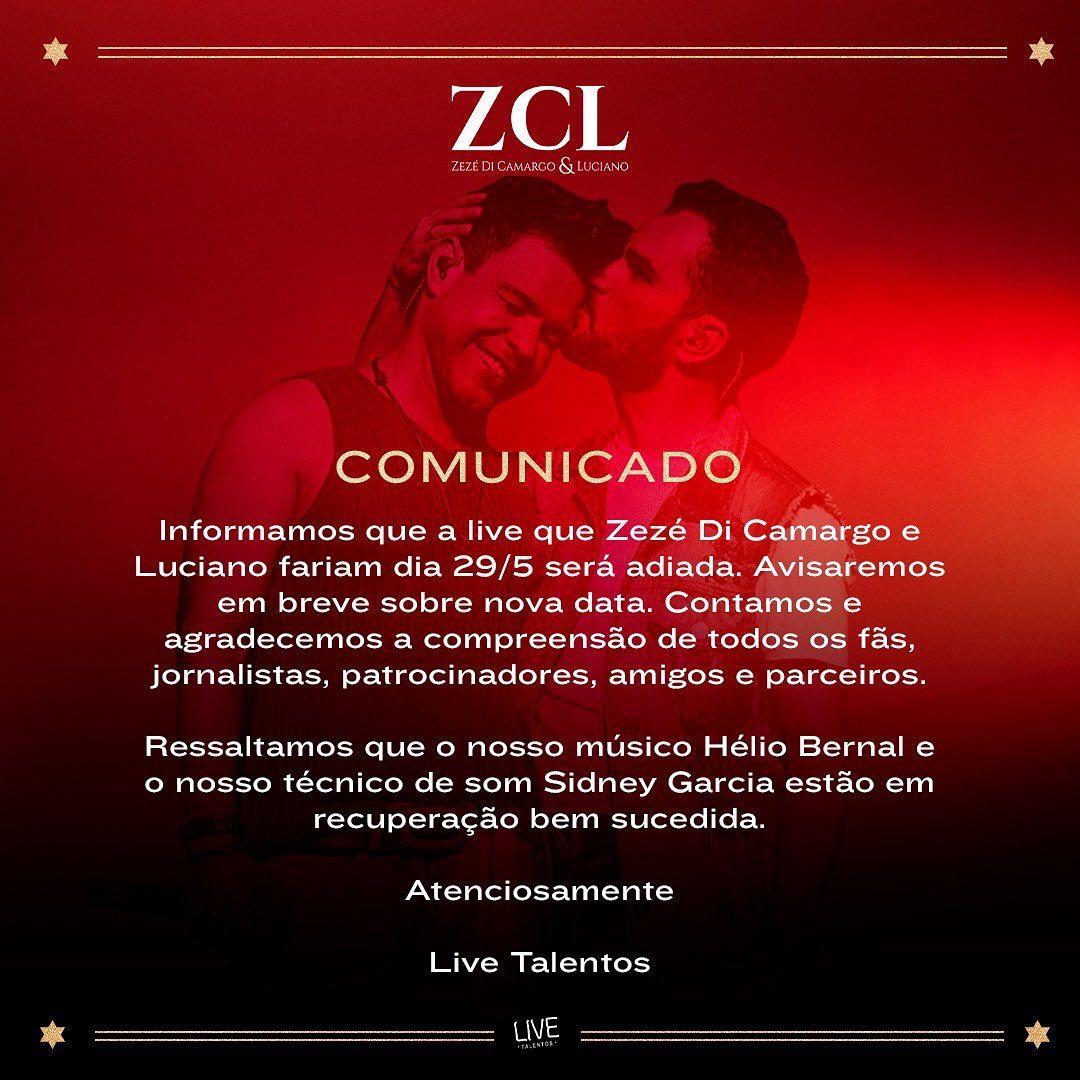 Zezé Di Camargo e Luciano tiveram live adiada (Foto: Reprodução/Instagram)