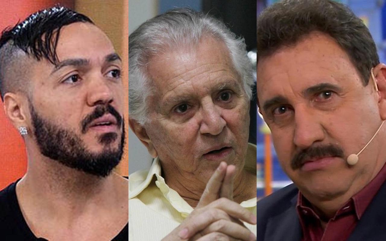 Belo, Carlos Alberto de Nóbrega, Ratinho e Cauã Reymond (Foto: Montagem TV Foco)