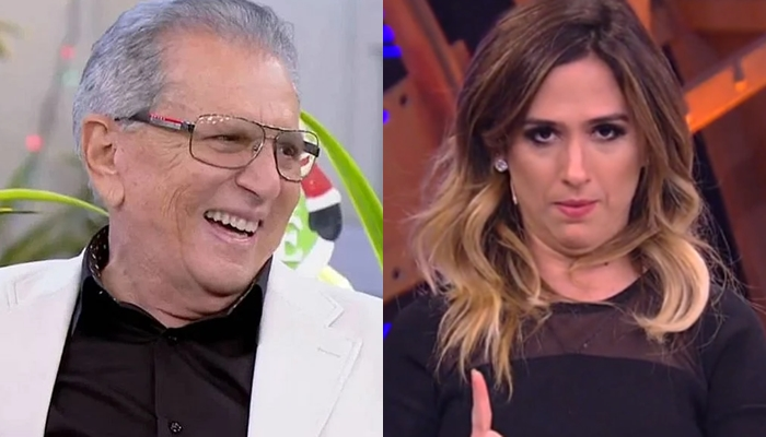 Carlos Alberto de Nóbrega em A Praça é Nossa e Tatá Werneck no Lady Night; humorístico desbancou talk show na audiência (Foto: Reprodução/SBT/Globo)