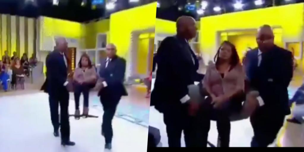 Convidada foi retirada do palco por seguranças (Foto montagem)