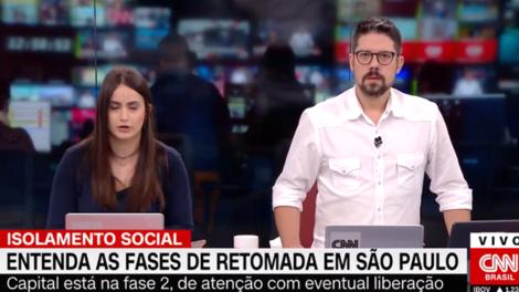 Mari Palma e Phelipe Siani durante o Live CNN; apresentador fez desabafo (Foto: Reprodução/CNN Brasil)
