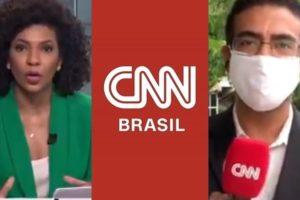Luciana Barreto teve que intervir após repórter ser tirado do ar por causa de gafe na CNN Brasil (Foto: Reprodução)