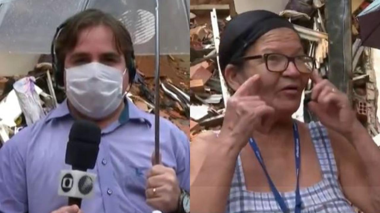 O repórter Danilo Ribeiro foi surpreendido por uma entrevistada no Bahia Meio Dia (Foto: Reprodução/TV Globo)