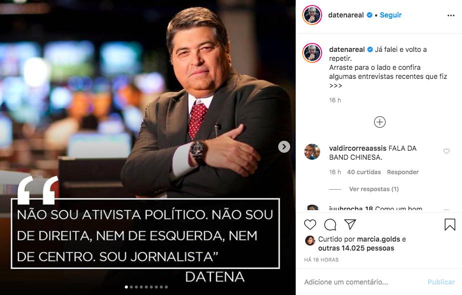 O famoso apresentador e âncora do Brasil Urgente da Band, Datena deixou os internautas chocados ao falar sobre polêmica após ataque ao vivo (Foto: Reprodução/Instagram)