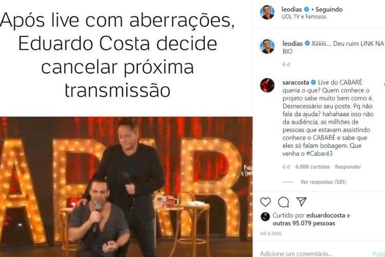 Irmã de Eduardo Costa atacou Leo Dias nas redes sociais