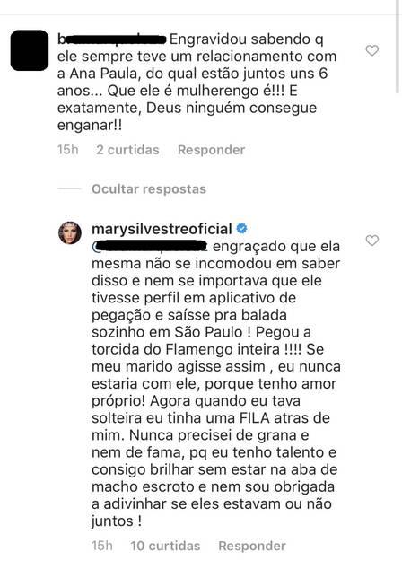 A famosa ex-coleguinha do Caldeirão do Huck, da Globo, Mary Silvestre respondeu uma seguidora (Foto: Reprodução/Instagram)