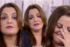 Ao vivo, Fabíola Reipert cai no choro (Foto: Reprodução)
