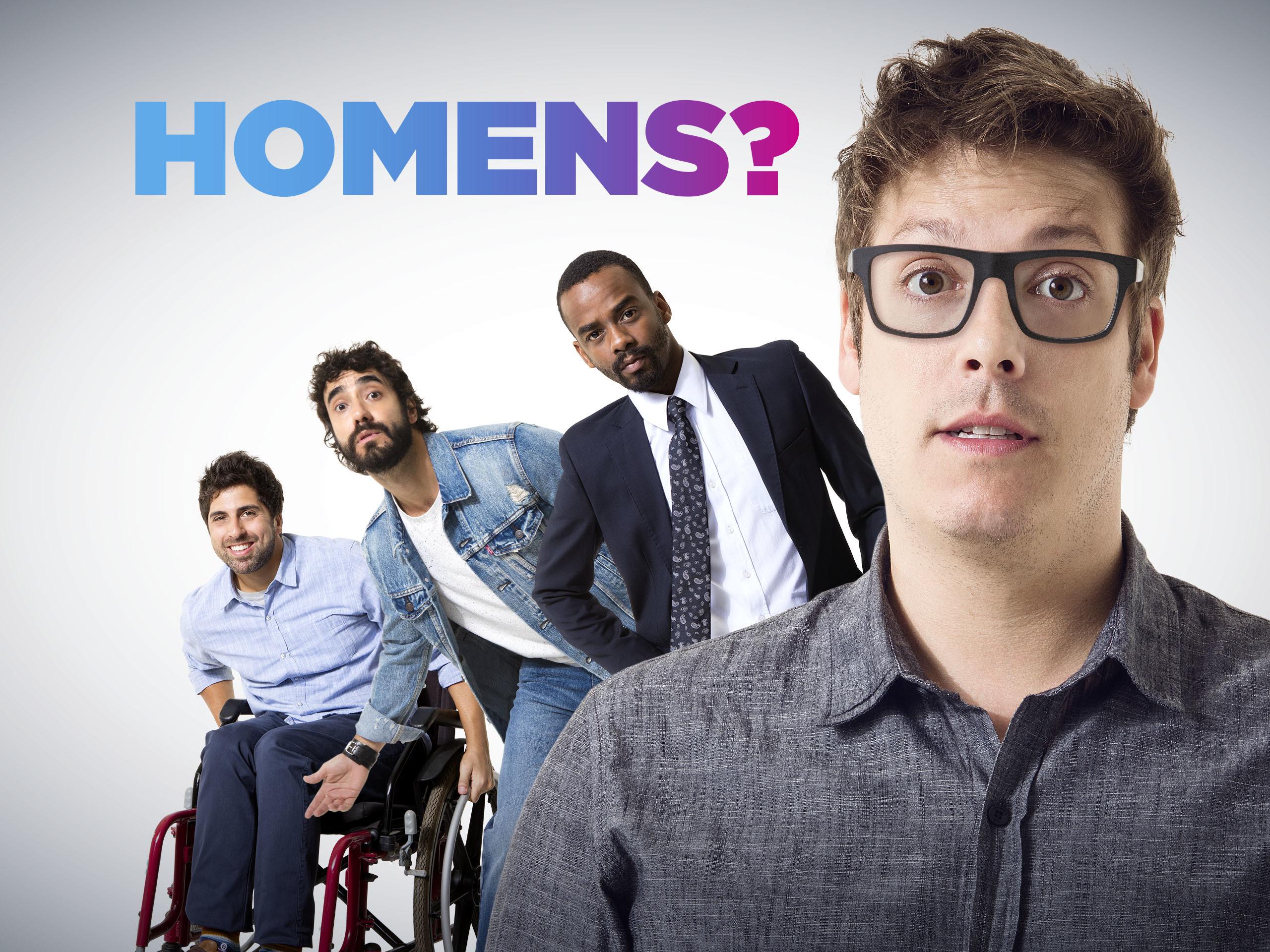 Fábio Porchat, Rafael Logam, Gabriel Godoy e Gabriel Louchard estrelam a série Homens? (Imagem: divulgação)