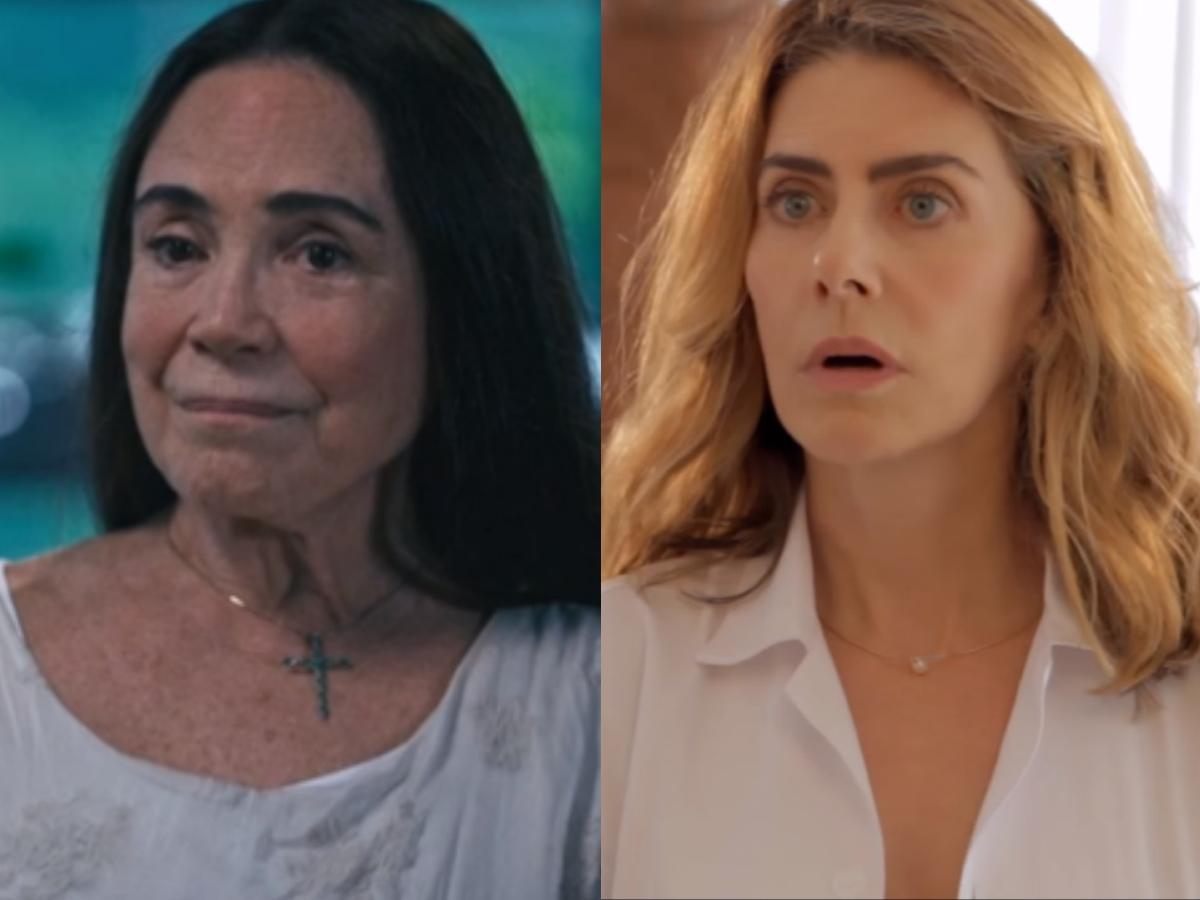 Regina Duarte e Maitê Proença foram expostas pela famosa ex-atriz da Globo, Tássia Camargo (Foto: Reprodução/Montagem TV Foco)