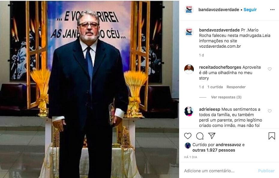 O famoso cantor gospel e pastor, Mário Rocha, que integrava a banda gospel Voz da Verdade, foi mais uma vítima do Covid-19 (Foto: Reprodução/Instagram)