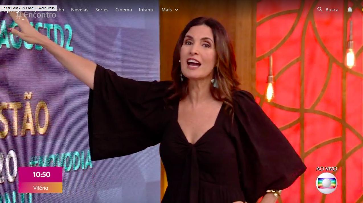 Fátima Bernardes sofre apagão (Foto: Reprodução/Globoplay)