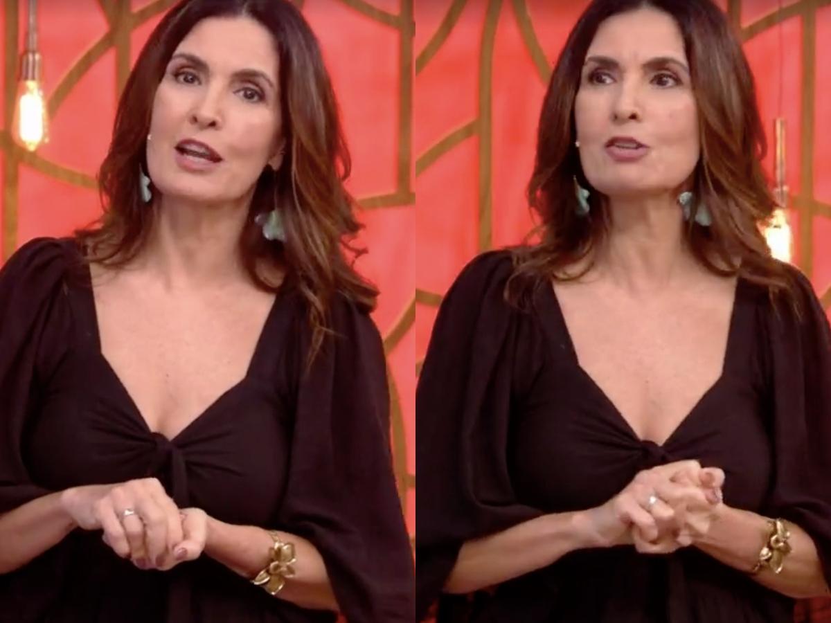 A apresentadora do Encontro, Fátima Bernardes chamou atenção dos telespectadores ao entregar problema técnico da Globo durante o programa ao vivo (Foto: Reprodução/Montagem TV Foco)
