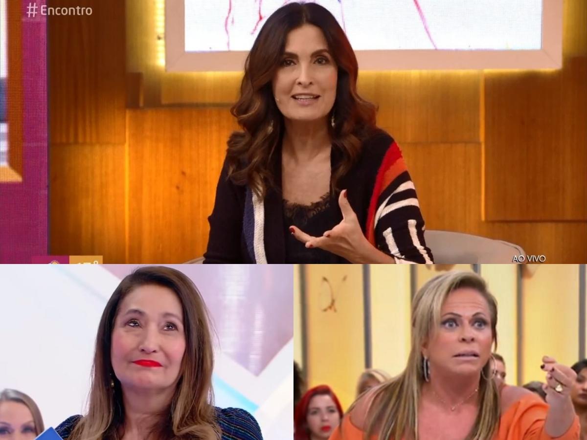 Audiência da TV: Fátima Bernardes faz Encontro da Globo afundar, Sonia Abrão levanta RedeTV! e SBT cai ao cortar Casos de Família para passar Triturando (Foto: Reprodução/Montagem TV Foco)