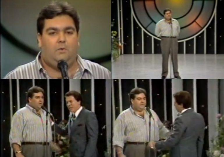 Fausto Silva participou de uma sabatina intitulada, O Povo Quer Saber, no extinto Show de Calouros do Silvio Santos no SBT (Imagem: Reprodução)