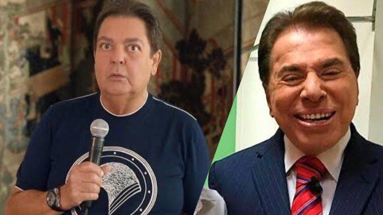 Faustão e Silvio Santos já dividiram o mesmo palco no SBT em 1988 (Montagem: TV Foco)