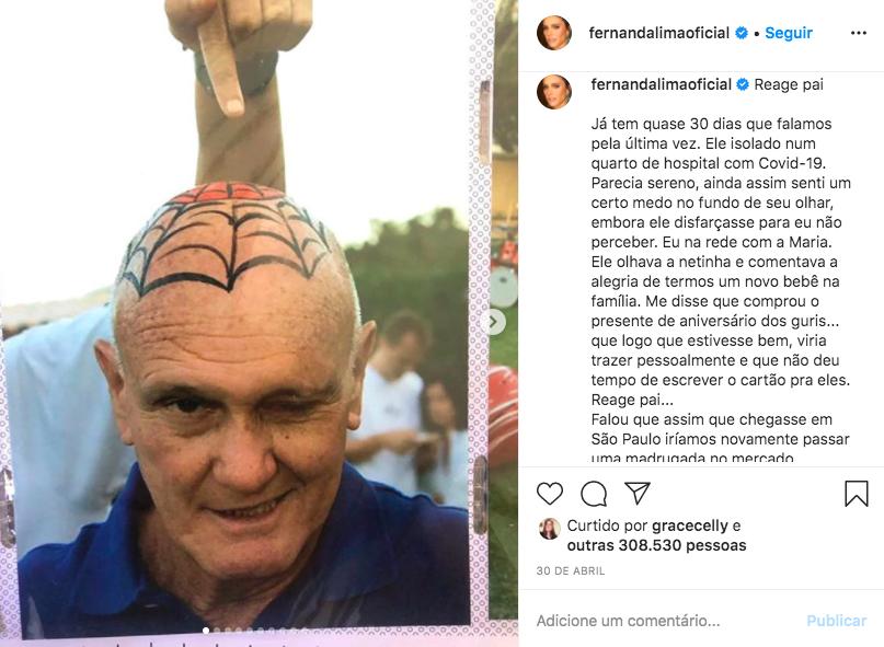 A famosa apresentadora da Globo, Fernanda Lima deixou os seus seguidores preocupados ao falar sobre a saúde de seu pai publicamente (Foto: Reprodução/Instagram)