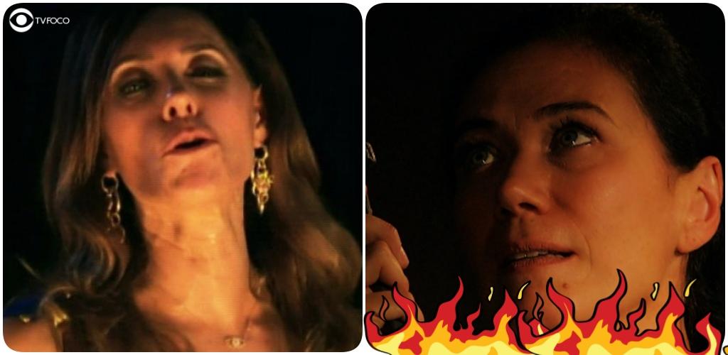 Fotomontagem de Tereza Cristina e Griselda com fogo na trama de Fina Estampa