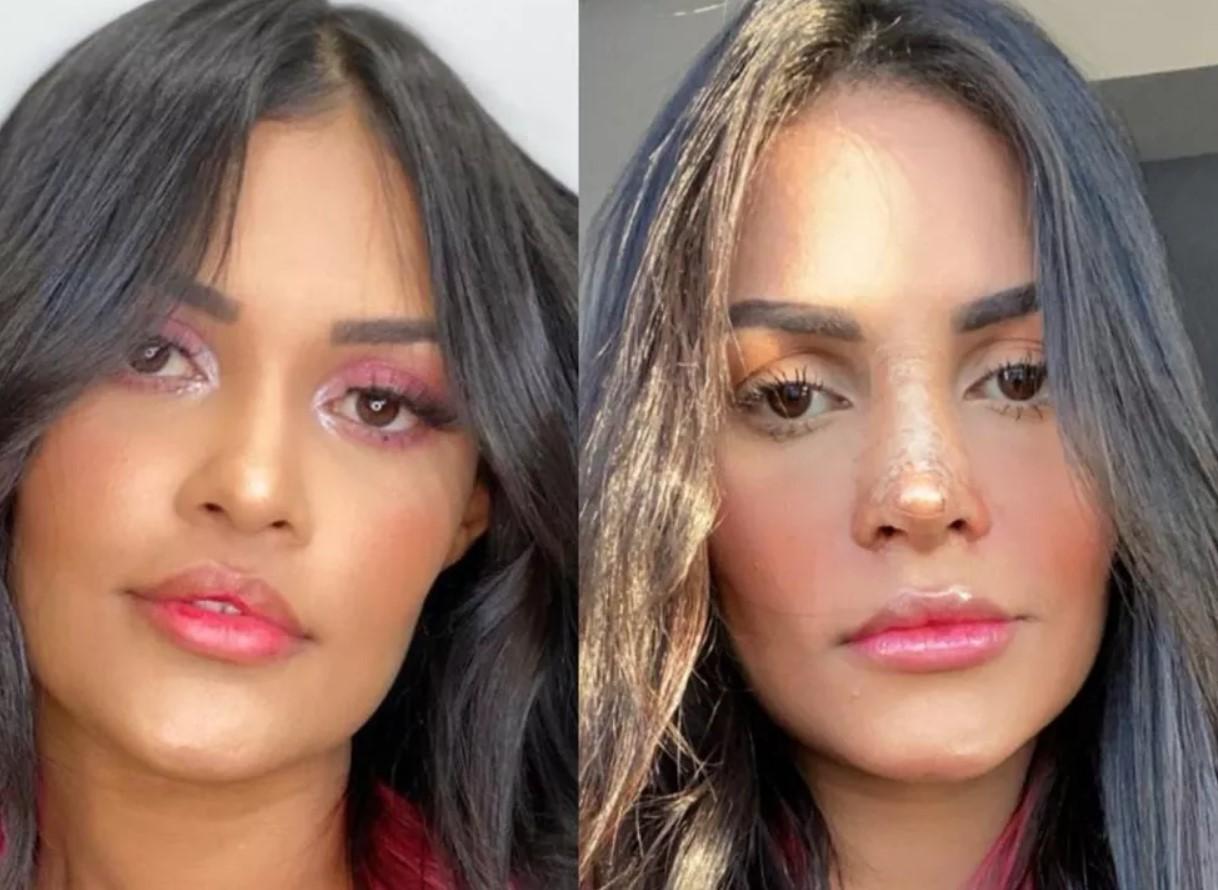 O antes e depois da cantora Flayslane - Foto: Montagem