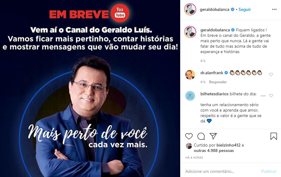 Geraldo Luis fará novo canal no YouTube (Foto: Reprodução)