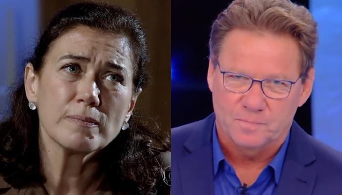 Lilia Cabral (Griselda) em Fina Estampa e Claude Troisgros no Mestre do Sabor; reality perdeu metade da audiência da novela (Foto: Reprodução/Globo/Montagem)