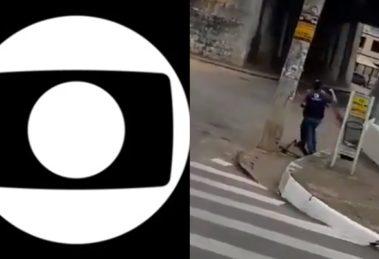 Afiliada da Globo teve repórter agredido e equipamentos quebrados por homem em Minas Gerais (Foto: Reprodução/Globo/Montagem TV Foco)