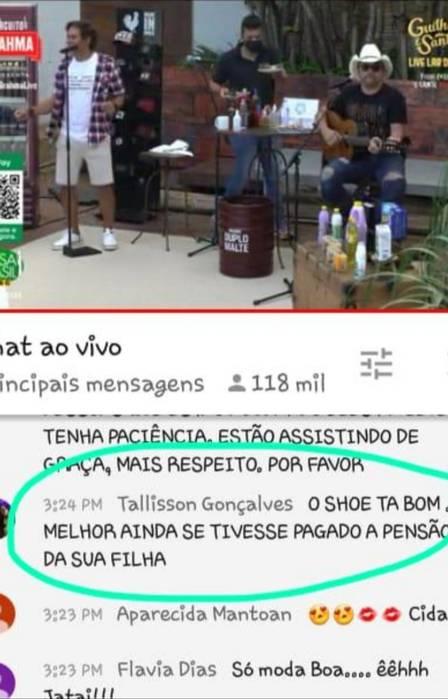 O famoso cantor sertanejo, da dupla com Santiago, Guilherme é cobrado ao vivo (Foto: Reprodução)