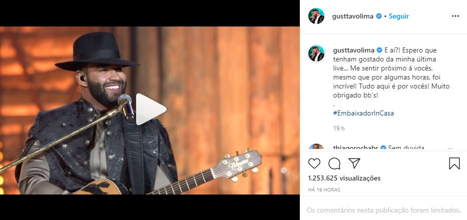 Gusttavo Lima gostou de sua última live (Foto: Reprodução/Instagram)