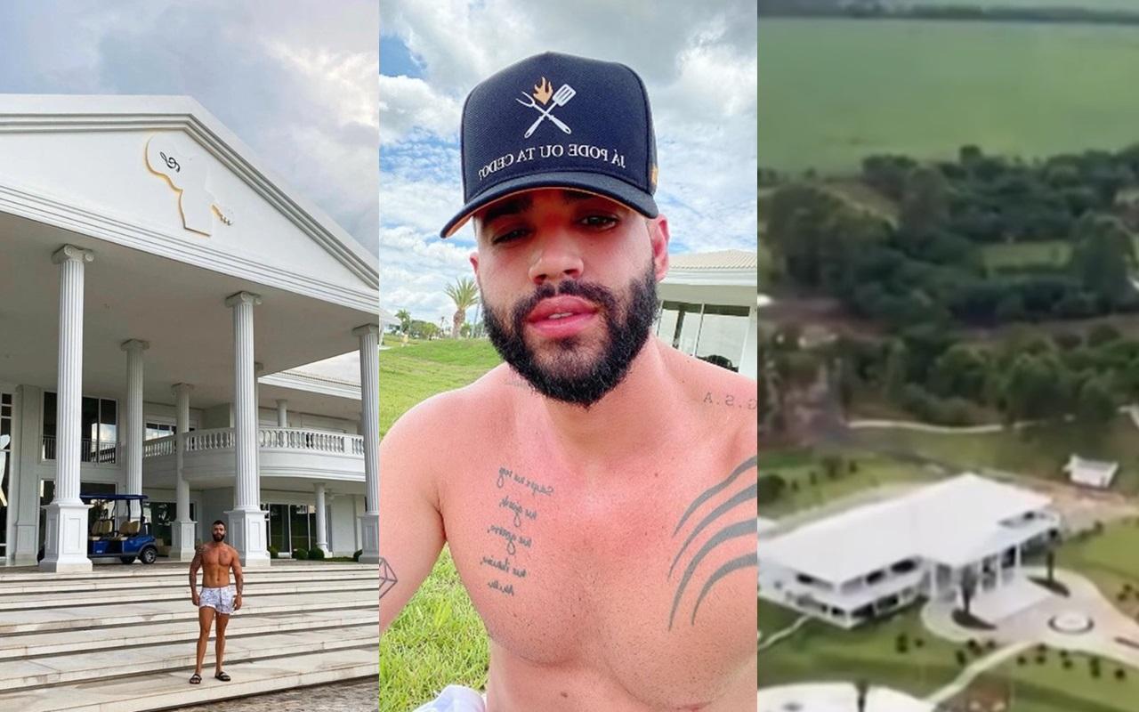 Gusttavo Lima tem detalhes de mansão milionária exposta (Foto: Montagem TV Foco)