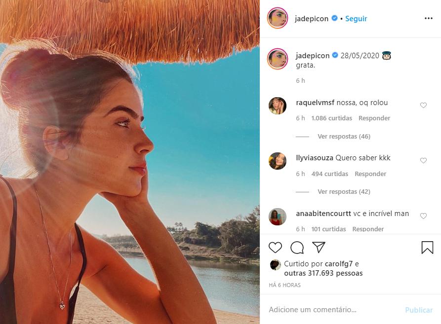 Jade Picon faz postagem enigmática e pega o público de surpresa (Foto: Reprodução)