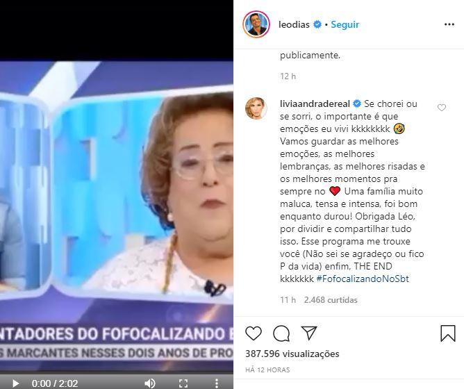 Lívia Andrade comentou no post de Leo Dias (Foto: Reprodução/Instagram)