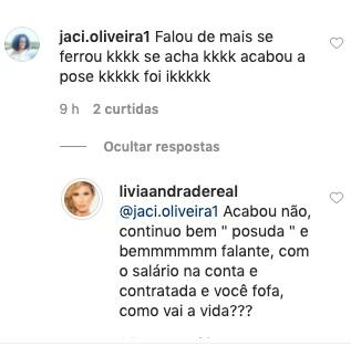 A famosa ex-apresentadora do Fofocalizando do SBT, Lívia Andrade respondeu seguidora após briga com Silvio Santos (Foto: reprodução/SBT)