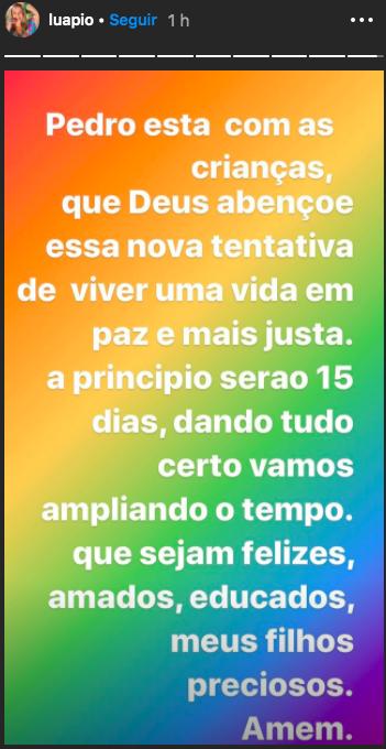 A famosa apresentadora e ex-atriz da Globo, Luana Piovani surpreendeu ao revelar que após tanta polêmicas, ela e Pedro Scooby estavam tentando novamente se reconciliar (Foto: Reprodução/Instagram)