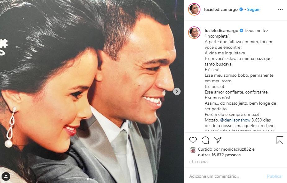 Luciele Di Camargo declarou-se para Denílson (Foto: Reprodução/ Instagram)