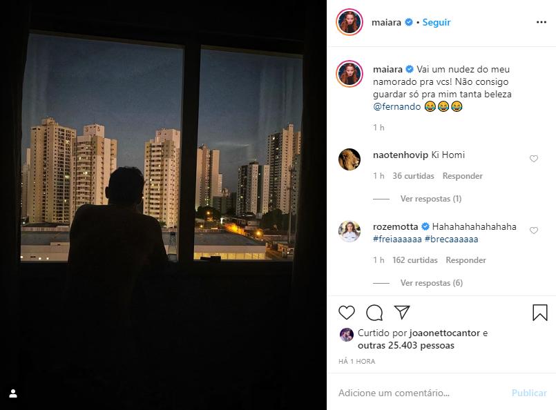 Fernando é flagrado sem roupa por Maiara (Foto: Reprodução)