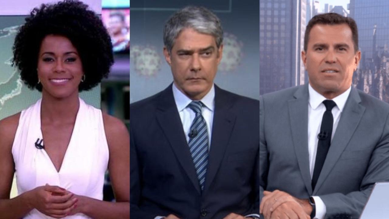 Maju Coutinho, William Bonner e Rodrigo Bocardi (Foto: Reprodução/TV Globo)