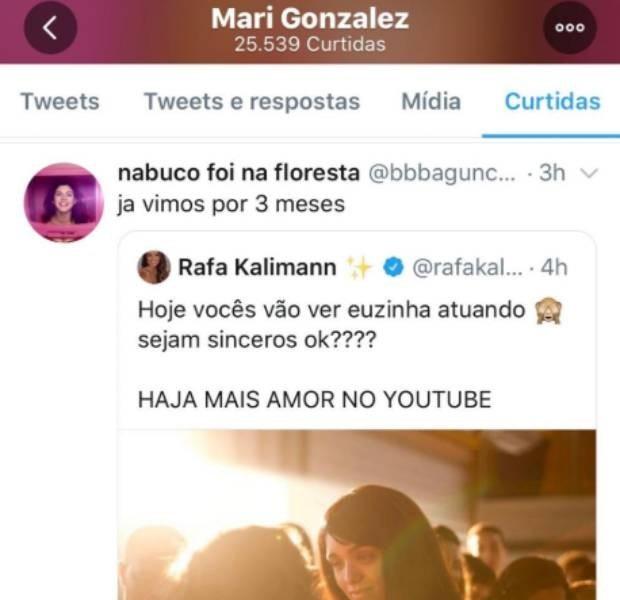 Mari Gonzalez curtiu uma indireta para Rafa Kalimann nas redes sociais (Foto: reprodução/Twitter)