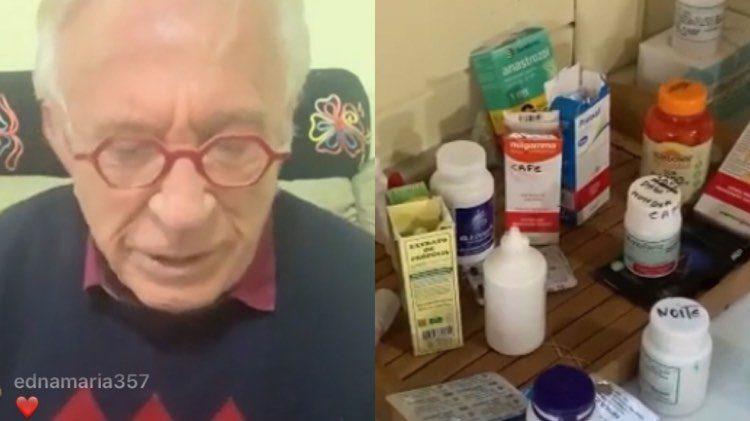 Moacyr Franco usou seus remédios para divulgar mais uma live nas redes sociais (Montagem: TV Foco)
