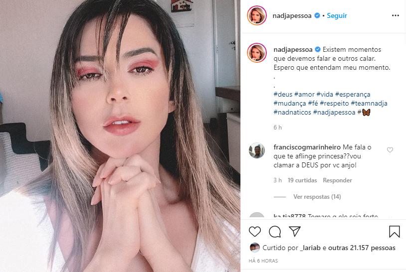 Nadja Pessoa reapareceu e fez textão após fim com D'Black e sumiço (Foto: Reprodução/ Instagram)