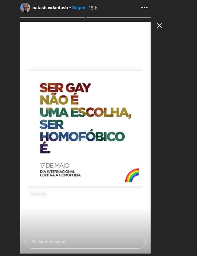 Nastasha Dantas compartilhou mensagem a favor da comunidade LGBTQ+ (Foto: Reprodução/Instagram)