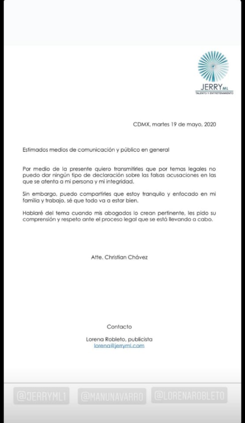 Nota divulgada por Christian Chávez Foto: Reprodução)