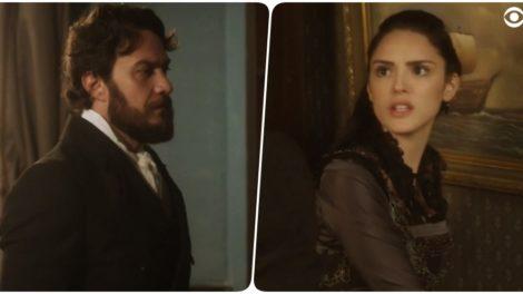 Fotomontagem de Thomas e Anna, personagens da novela de Novo Mundo se encarando vestindo roupas de época