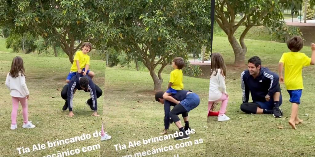 Alexandre Pato surgiu no meio de praça pública brincando com os filhos de Patrícia Abravanel (Foto montagem: TV Foco)