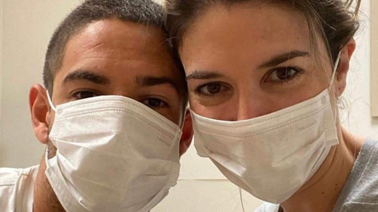 Pato e Rebeca Abravanel surgiram de máscaras (Foto: Reprodução/Instagram)