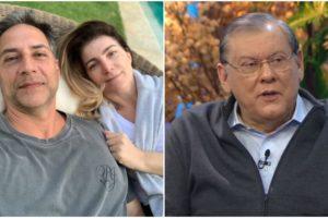 Lacombe surgiu ao lado da mulher, Gisa, e comentário maldoso de Milton Neves virou destaque (Foto: Reprodução/ Montagem/ TV Foco)