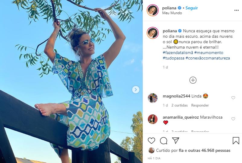 Poliana Rocha, mulher de Leonardo, mandou mensagem positiva (Foto: Reprodução)
