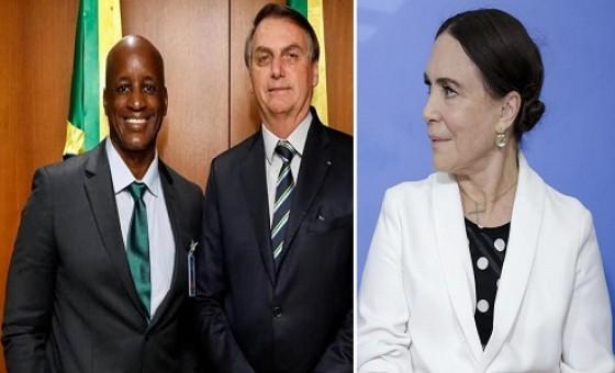 Sérgio Camargo com Jair Bolsonaro e Regina Duarte (Foto: Reprodução | Alan Santos/PR)